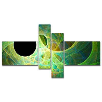 Designart Green Fractal Angel Wings Multipanel Abstract Wall Art Canvas - 4 Panels