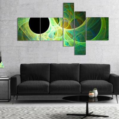 Designart Green Fractal Angel Wings Multipanel Abstract Wall Art Canvas - 5 Panels