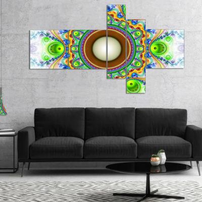 Designart Green Fractal Circles And Waves Multipanel Abstract Canvas Art Print - 5 Panels