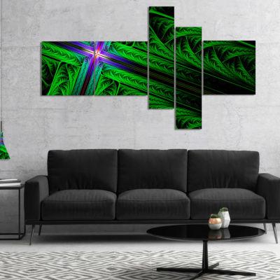 Designart Green Fractal Cross Design Multipanel Abstract Canvas Art Print - 4 Panels