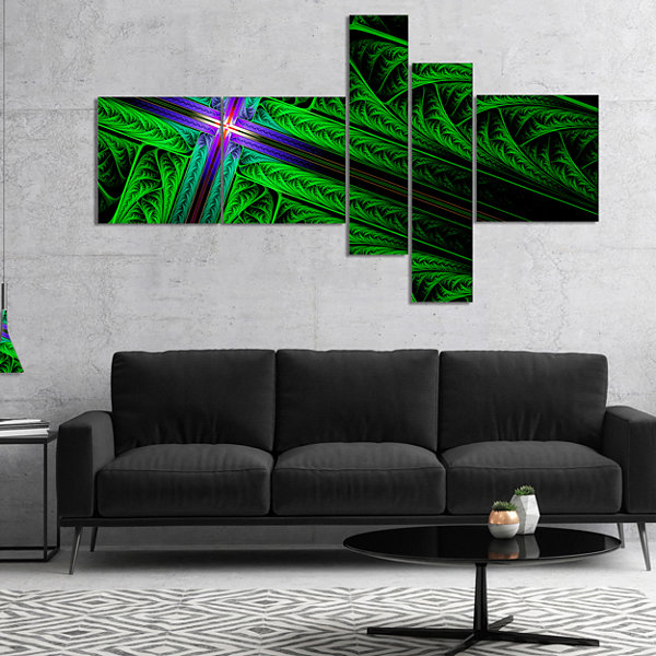 Designart Green Fractal Cross Design Multipanel Abstract Canvas Art Print - 5 Panels