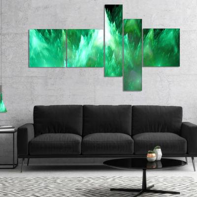 Designart Green Fractal Crystals Design MultipanelAbstract Canvas Art Print - 4 Panels