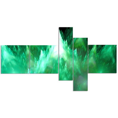 Designart Green Fractal Crystals Design MultipanelAbstract Canvas Art Print - 5 Panels