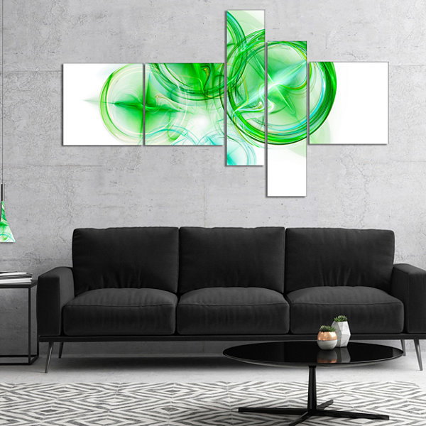 Designart Green Fractal Desktop Multipanel Abstract Canvas Art Print - 5 Panels