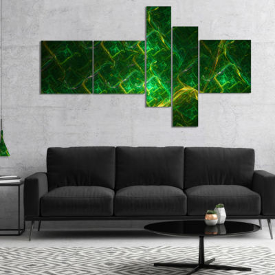 Design Art Green Fractal Electric Lightning Multipanel Abstract Art On Canvas - 4 Panels