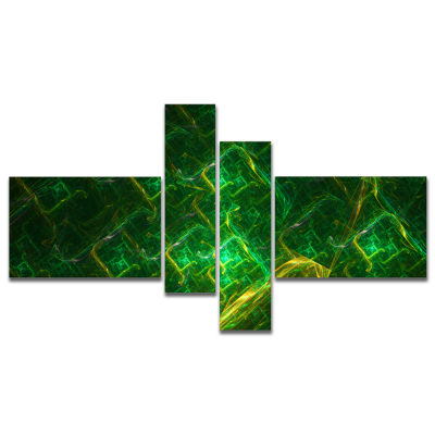 Designart Green Fractal Electric Lightning Multipanel Abstract Art On Canvas - 4 Panels