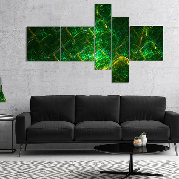 Designart Green Fractal Electric Lightning Multipanel Abstract Art On Canvas - 5 Panels