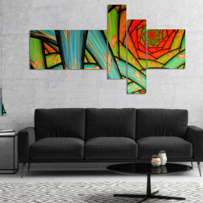 Designart Green Fractal Endless Tunnel MultipanelAbstract Canvas Art Print - 5 Panels