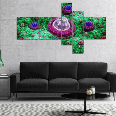 Designart Green Fractal Exotic Planet MultipanelAbstract Canvas Art Print - 5 Panels