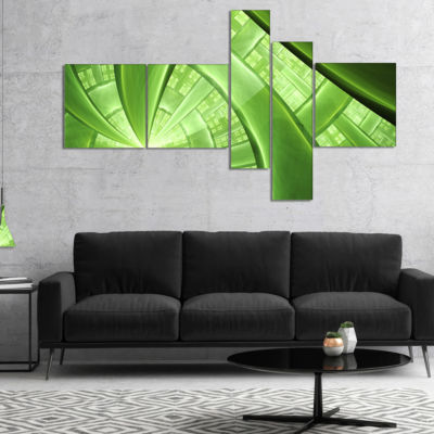 Designart Green Fractal Exotic Plant Stems Multipanel Abstract Canvas Art Print - 4 Panels