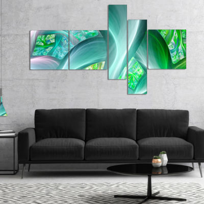 Designart Green Fractal Exotic Plant Stems Multipanel Abstract Wall Art Canvas - 4 Panels