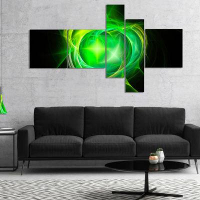 Designart Green Fractal Explosion Supernova Multipanel Abstract Canvas Art Print - 5 Panels