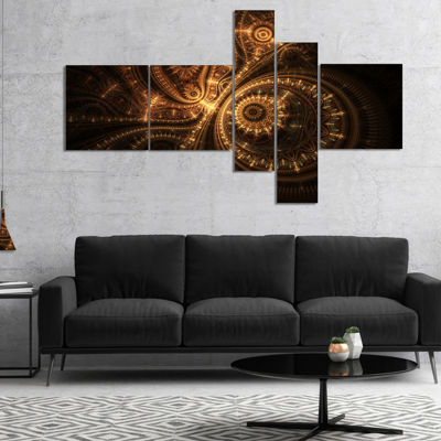 Designart Green Fractal Flower In Dark MultipanelYellow Multipanel Floral Art Canvas Print - 5 Panels