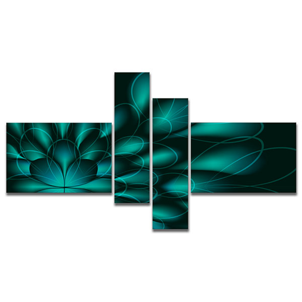 Designart Green Fractal Flower On Black MultipanelAbstract Canvas Art Print - 4 Panels