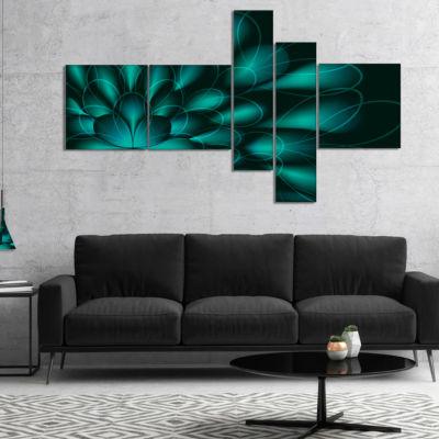 Designart Green Fractal Flower On Black MultipanelAbstract Canvas Art Print - 5 Panels