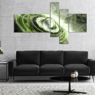 Designart Green Fractal Flying Saucer MultipanelAbstract Canvas Art Print - 4 Panels