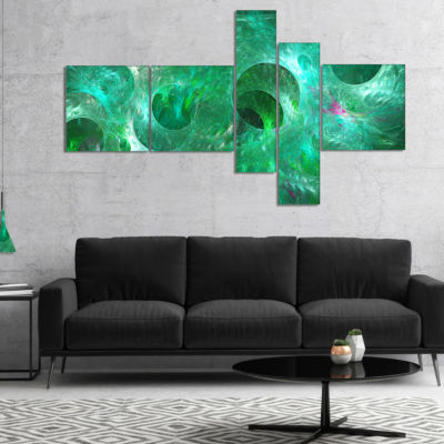 Designart Green Fractal Glass Texture Multipanel Abstract Canvas Art Print - 5 Panels