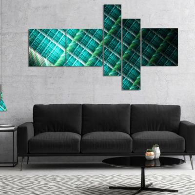 Designart Green Fractal Grill Pattern Multipanel Abstract Art On Canvas - 5 Panels
