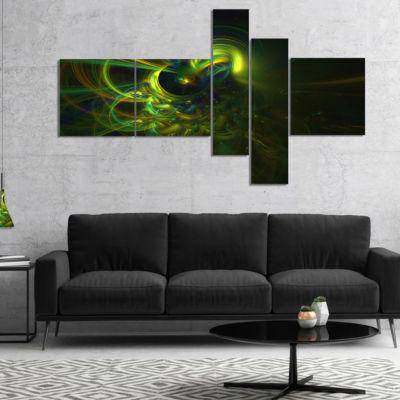 Designart Green Fractal Light Forms Multipanel Abstract Art Print - 5 Panels