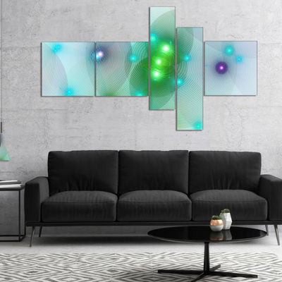 Designart Green Fractal Lights In Fog MultipanelAbstract Wall Art Canvas - 4 Panels