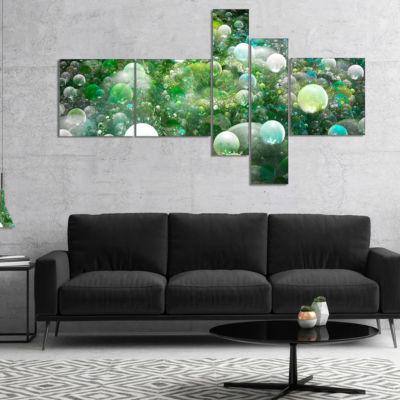 Designart Green Fractal Molecule Pattern Multipanel Abstract Wall Art Canvas - 4 Panels