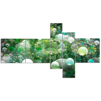 Designart Green Fractal Molecule Pattern Multipanel Abstract Wall Art Canvas - 5 Panels