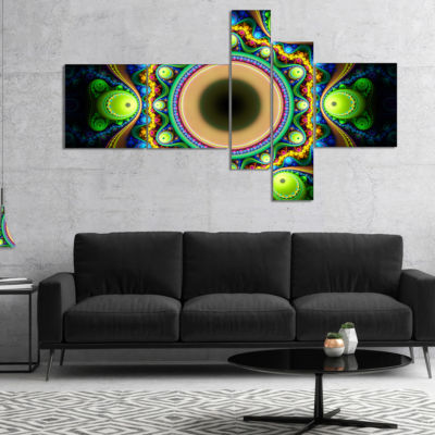 Designart Green Fractal Pattern With Circles Multipanel Abstract Canvas Art Print - 4 Panels