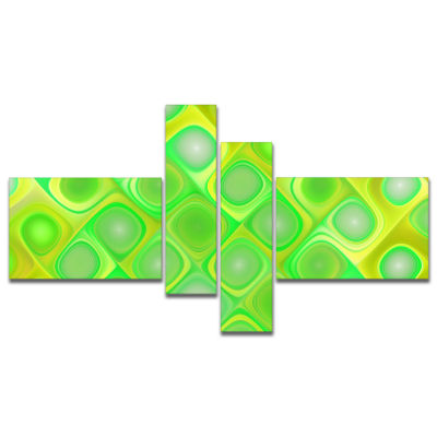 Designart Green Fractal Pattern With Swirls Multipanel Abstract Wall Art Canvas - 4 Panels