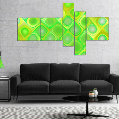 Designart Green Fractal Pattern With Swirls Multipanel Abstract Wall Art Canvas - 5 Panels