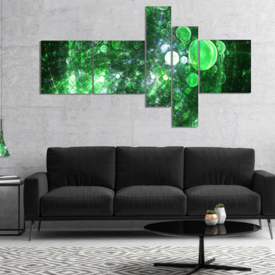Designart Green Fractal Planet Of Bubbles Multipanel Abstract Wall Art Canvas - 5 Panels