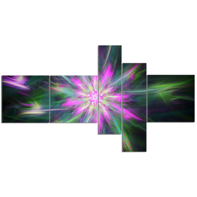 Designart Green Fractal Shining Bright Star Multipanel Abstract Canvas Art Print - 5 Panels