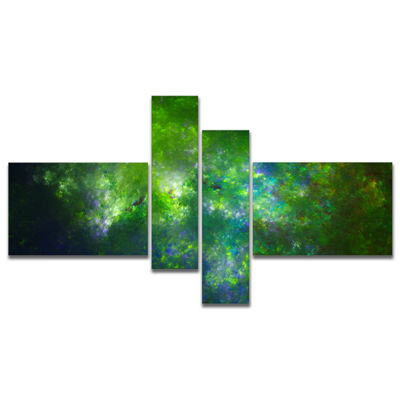 Designart Green Fractal Sky With Blur Stars Multipanel Abstract Canvas Art Print - 4 Panels