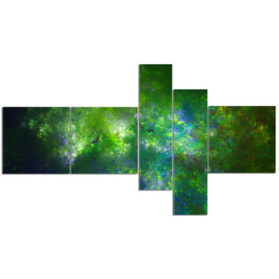 Designart Green Fractal Sky With Blur Stars Multipanel Abstract Canvas Art Print - 5 Panels