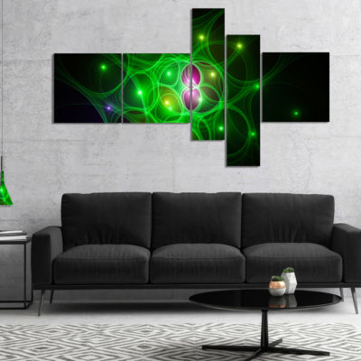 Designart Green Fractal Space Circles Multipanel Abstract Canvas Art Print - 5 Panels