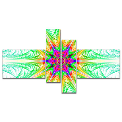 Designart Green Fractal Stained Glass MultipanelAbstract Wall Art Canvas - 4 Panels