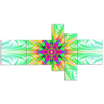 Designart Green Fractal Stained Glass MultipanelAbstract Wall Art Canvas - 5 Panels
