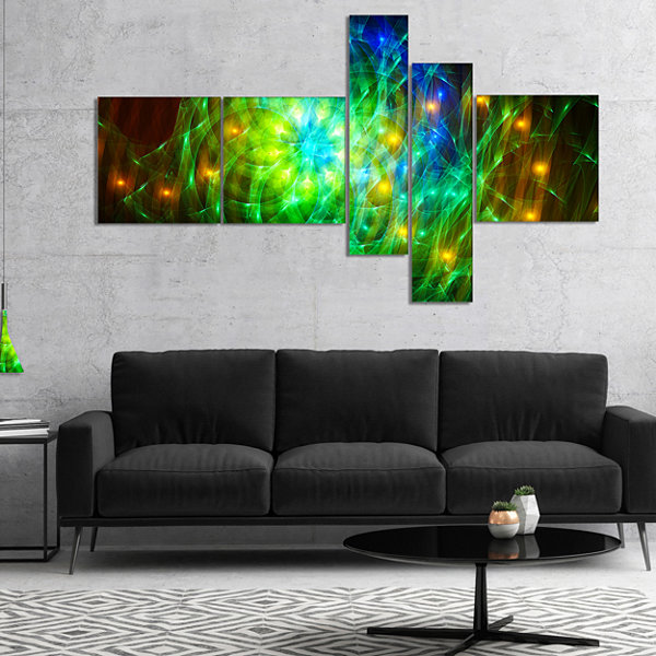 Designart Green Fractal Symphony Of Colors Multipanel Abstract Wall Art Canvas - 5 Panels