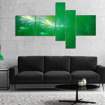 Designart Green Fractal Thunder Sky Multipanel Abstract Wall Art Canvas - 5 Panels