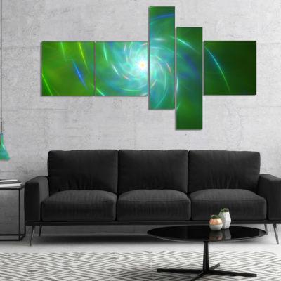 Designart Green Fractal Whirlpool Design Multipanel Abstract Wall Art Canvas - 5 Panels