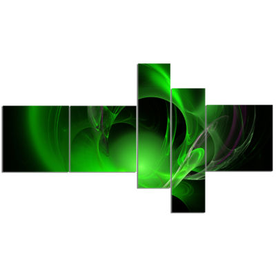 Designart Green Galactic Nebula On Black Multipanel Abstract Wall Art Canvas - 5 Panels