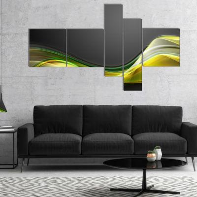 Designart Green Gold Texture Pattern Multipanel Abstract Canvas Art Print - 4 Panels