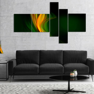 Designart Green Gold Upright Waves Multipanel Abstract Canvas Art Print - 4 Panels