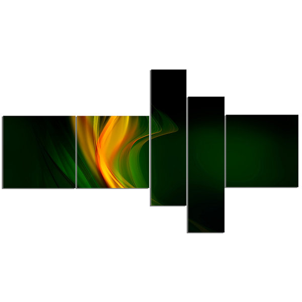 Designart Green Gold Upright Waves Multipanel Abstract Canvas Art Print - 5 Panels