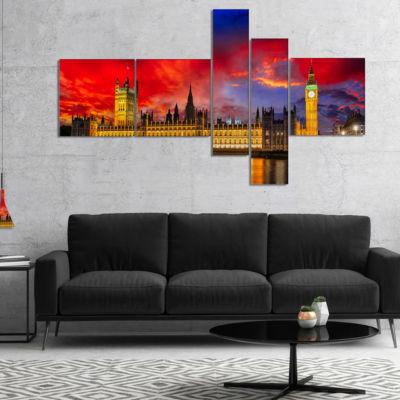 Designart House Of Parliament At River Thames Multipanel Modern Cityscape Canvas Art Print - 5 Panels