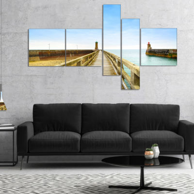 Designart Pier And Lighthouse France Multipanel Seascape Canvas Art Print - 5 Panels