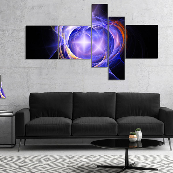 Designart Supernova Explosion Blue Multipanel Abstract Print On Canvas - 4 Panels