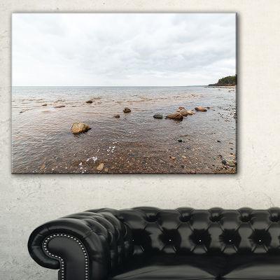 Designart Rocky Autumn Beach Seashore PhotographyCanvas Print - 3 Panels