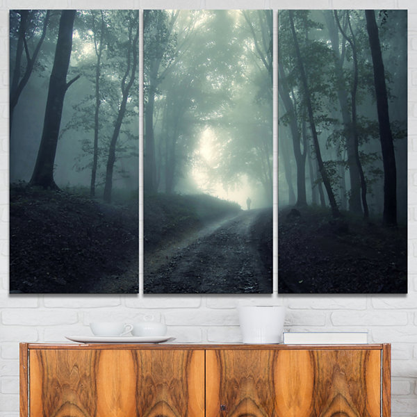Designart Man Walking In Foggy Forest Landscape Photography Canvas Print - 3 Panels