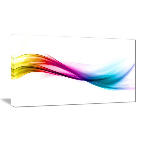 Designart Rainbow Shade Waves Abstract Canvas ArtPrint