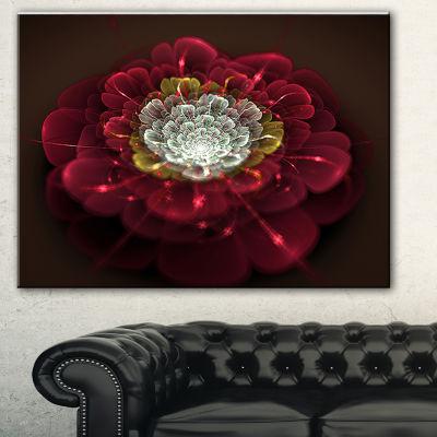Designart Red Fractal Flower With White Floral ArtCanvas Print